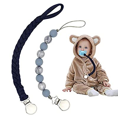 Pacifier Clips for Boys, Braided Pacifier Leash& Silicone Toddler Pacifier Holder, Baby Teething Rings for All Pacifiers, Teether Toys, Soothie (2 Pack Gray+ Navy Blue)