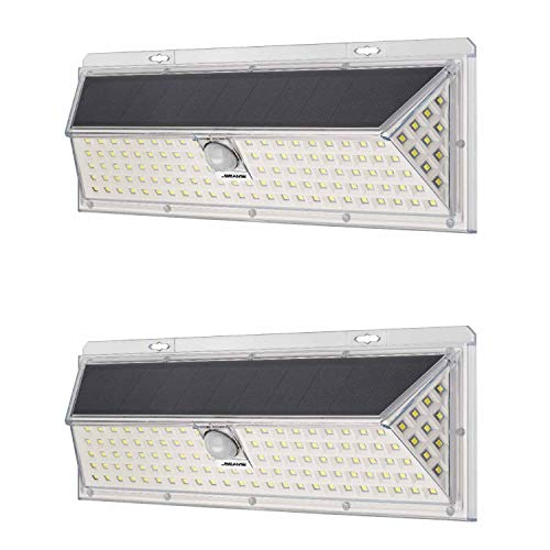 Mr Beams Solar Wedge Plus 126 LED Security Outdoor Motion Sensor Wall Light, 2 Pack, White, 2 Count