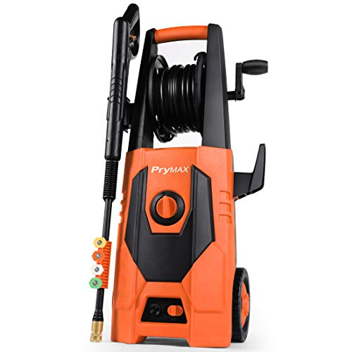 PRYMAX Pressure Washer 3000 PSI 1.80 GPM Car Electric Power Washer with Hose Reel and Interchangeable Nozzles, Red