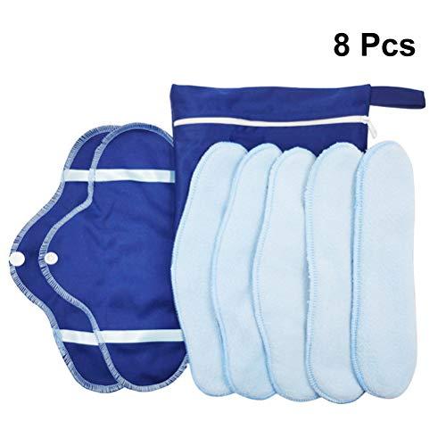 SUPVOX 8 Pcs Wiederverwendbare Damenbinden Stoffbinden Slipeinlagen mit Flügeln waschbare Menstruation Pads für Menstruation Inkontinenz