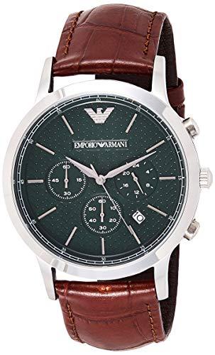 Emporio Armani Reloj de Cuarzo Hombre con cronógrafo Negro y Pulsera de Piel marrón AR2493