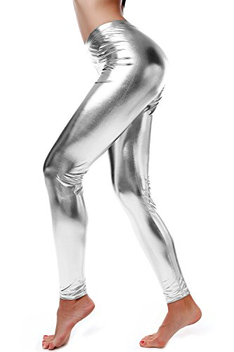 DIAMONDKIT Damen-Leggings aus Kunstleder im Wet-Look mit metallischer Taille - Silber - X-Groß