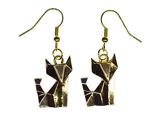 Fuchs Ohrringe Ohrring Miniblings Hänger Tier Kätzchen Faltkunst Origami golden