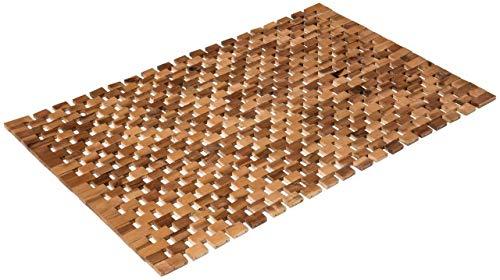 PANA Badematte 100% Akazienholz/Badvorleger rutschfest | Holzbadematte aus geöltem Echtholz 80 x 50 cm