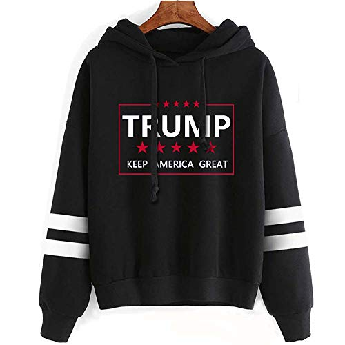 Aganmi Trump Graphic Unisex Pullover Hoodie ,Keep America Great,45th President Donald Trump 2020 Long Sleeve Sweatshirt Black