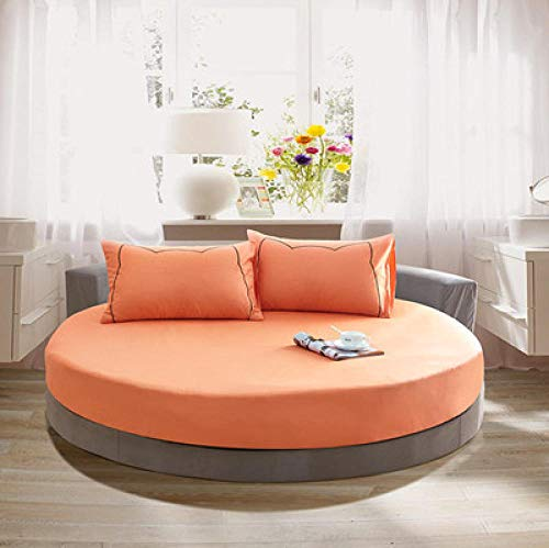 CYYyang Funda de colchón Anti chinches, Transpirable, Funda de Cama Redonda de algodón Color Liso-Naranja_2m