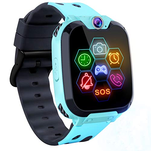"Kids Game Smart Watch Phone - 1.54"" Touch Screen Game Smartwatches with [1GB Micro SD Card] Call SOS Camera 7 Games Alarm Clock Music Player Record for Children Boys Girls Birthday Gifts 3-10 (Blue) …"