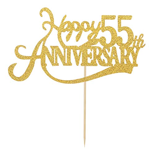 Double Sided Gold Glitter Happy 55th Anniversary Cake Topper - 55th Wedding Anniversary Party 55th Birthday Party Decorations
