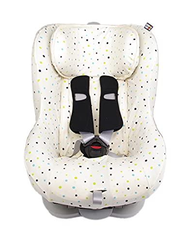 Kaarsgaren Funda para asiento infantil de coche para Britax Römer King II, modelos de edad 1+ para sistema de cinturón de 3 y 5 puntos, 100% algodón orgánico (puntos naturales, 9-18 kg)