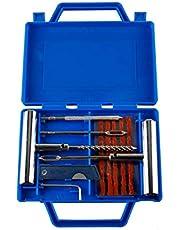 JZK 11 x Juego de reparación de llantas planas, conjunto de herramientas de reparación de pinchazos de neumáticos de automóviles con caja de almacenamiento