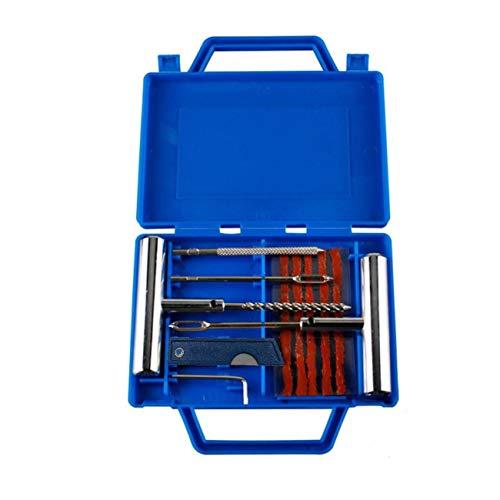 JZK 11 x Kit de Réparation de Pneus Lourds Ensemble d'outils de Réparation de Crevaison de Pneu de Voiture avec Boîte de Rangement pour Auto, Moto, VTT, Jeep, Camion, Tracteur