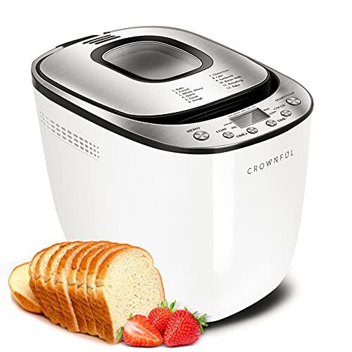 CROWNFUL Máquina automática de pan, panera programable de 2 libras con sartén antiadherente y 12 preestablecimientos, set de 1 hora para mantener el calor, 2 tamaños de pan, 3 colores de corteza, folleto de recetas incluido, lista ETL (blanco)