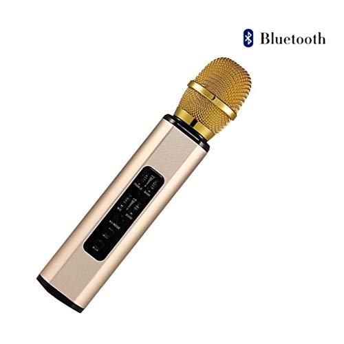 RENYAFEI Microfono Karaoke 4.1 Conexión Inalámbrica Bluetooth Doble Altavoz Reducción Inteligente De Ruido para Escenario Cantando Grabación Discurso Boda,Oro