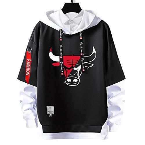 Sudaderas con Capucha de Jordan,23 # bulls Pullover Uniforme de Baloncesto Fans Camisetas de Entrenamiento, para Hombre y Mujer chicago hoodies,Moda Casual, sin Pelota,sin Deformación,Blackb-S