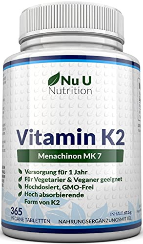 Vitamin K2 MK7 200 µg   365 Vegetarische und Vegane Tabletten   Jahresversorgung von Vitamin K2 Menaquinon MK7 hochdosiert   All Trans von Nu U Nutrition