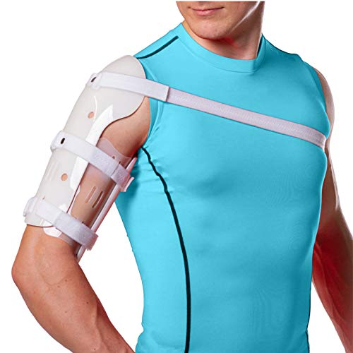BraceAbility Sarmiento Brace - Humeral Shaft Fracture Splint Cast for Broken Upper Arm, Shoulder, Bicep and Humerus Bone with Stockinette, Sling and Cuff Support (Small)