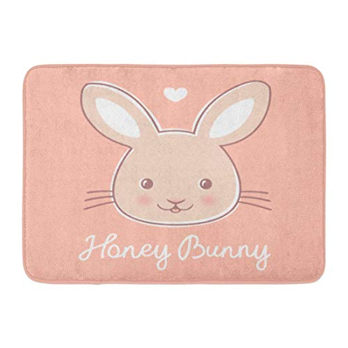 Zome Lag Deurmat Badmat Ingang Mat Badkamer Tapijt Gezicht Kleine Leuke Konijn op Roze Tekst Honing Bunny Animal Baby Mooie Badkamer Decor Tapijt Badmat 60x40cm