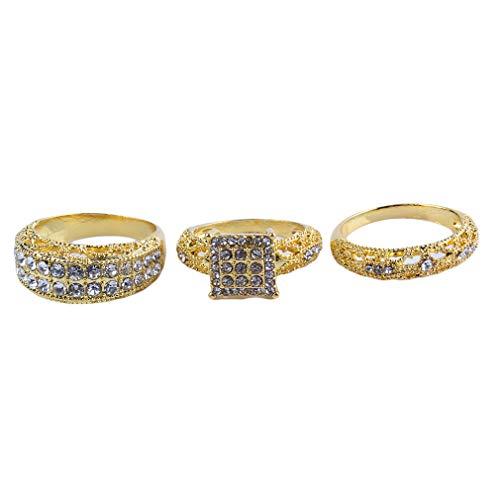 Yesiidor - Juego de anillos de compromiso de diamantes artificiales con incrustaciones de diamantes de imitación, # 9