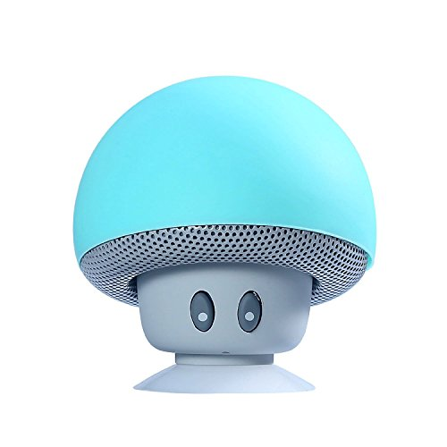 Champignon Enceintes YOKKAO Bluetooth Mini Haute- Parleur sans Fil pour Smartphone à Ventouse pour Baignade TéléPhone De Voiture Tablet PC Portable, Bleu Clair