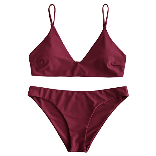 ZAFUL Damen Spaghetti-Träger V-Neck Gepolstert Bikini Set Rotwein S