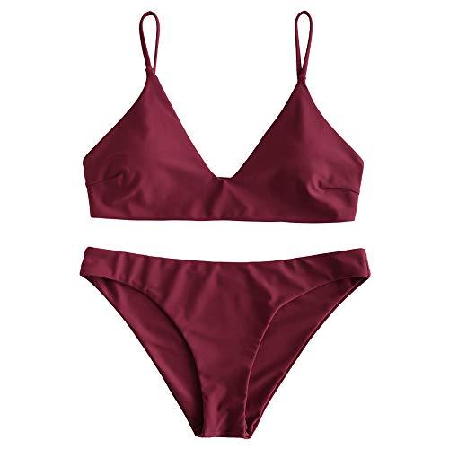 ZAFUL Damen Spaghetti-Träger V-Neck Gepolstert Bikini Set Rotwein L