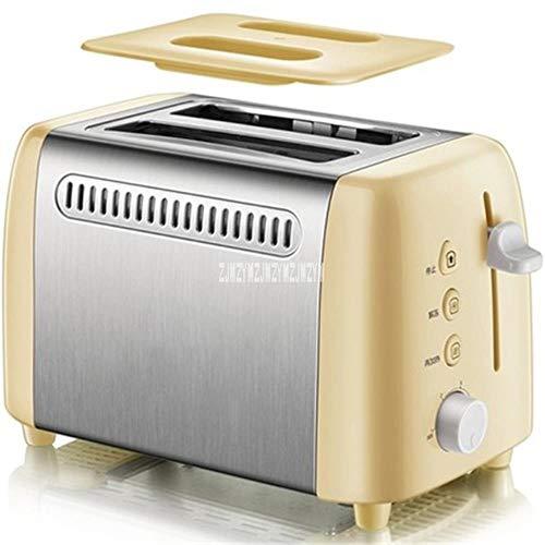LinZX Desayuno Tostadora con una Cobertura presupuesto de Funcionamiento automático de deshielo de Mini tostadora de Acero Inoxidable de 2 rebanadas de 6 velocidades,Yellow