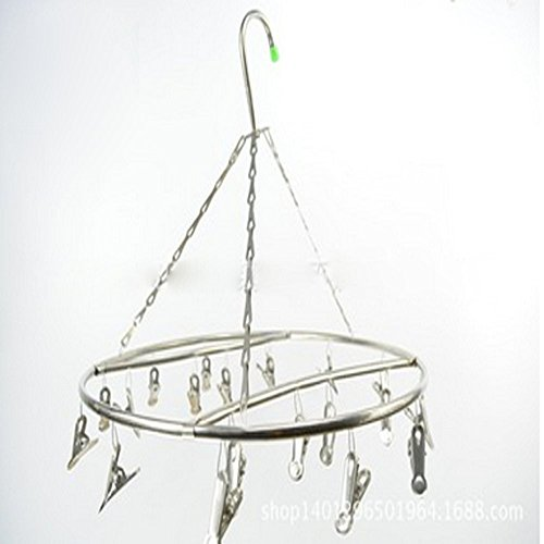 Lecent@Round Hollow Stainless Steel Laundry Drying Rack Hanger with 15/20 Clips For Drying Socks, Kids Clothes, Bra, Towel, Underwear, Hat, Scarf, Pants, Gloves (Round 20 clips 7mm)