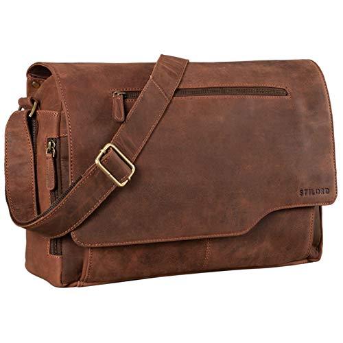 STILORD 'Marvin' Leather Bag Men Messenger for Business University College Vintage Crossbody Shoulder Bag 15.6 inch Laptop Genuine Leather, Colour:Veleta - Brown