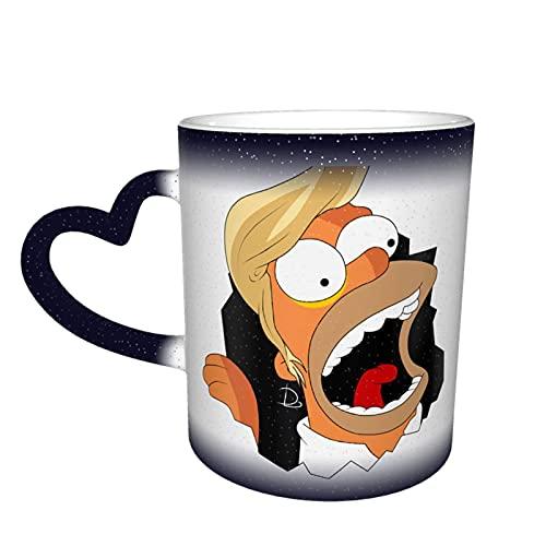 Simpson - Taza cambiante de color en el cielo, cerámica sensible al calor, cambiante, taza de viaje, taza de café, tazas de té, color azul