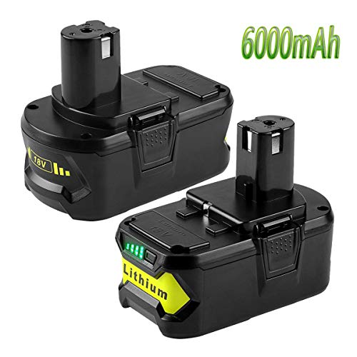 18Volt 6000mAh P108 Battery for Ryobi 18V Battery Lithium ion Replacement for Ryobi one+ P108 P105 P102 P103 P107 P109 P104 Tools Batteries, (2 Packs)
