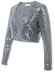 Grey Sequin Fabric Long Sleeve Cropped Blazer Bolero Shrug