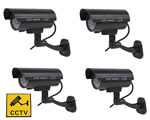Lot de 4 Fausses caméras de Surveillance à Vision Nocturne Clignotantes -pour l'extérieur et l'intérieur Blueskysea