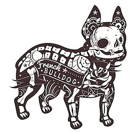 6 Sheets Temporary Tattoos Stylized Skeleton French Bulldog Temporary tattoo Neck Arm Chest for Women Men Adults 3.7 X 3.7 Inch Animal Tattoo