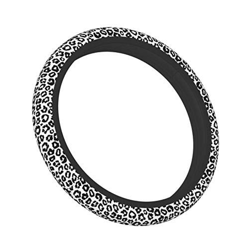 Black and White Cheetah Abstract Animal Leopard Auto Elastic Steering Wheel Cover, Universal Fit 15 Inch Car SUV Wheel Protector for Women Men (Neoprene Rubber)