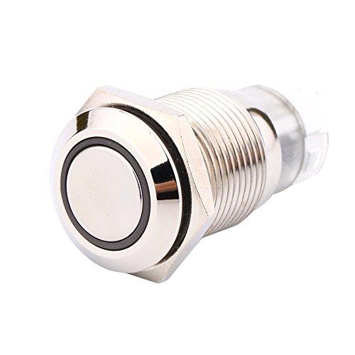 Interrupteur à bouton poussoir pour voiture 16 mm, 1NO1NC marche/arrêt 12 V en métal avec lumière LED verte
