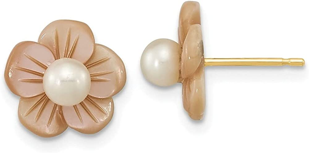 14k Yellow Gold 3-4mm Round White FWC Pearl Pink MOP Flower Earrings