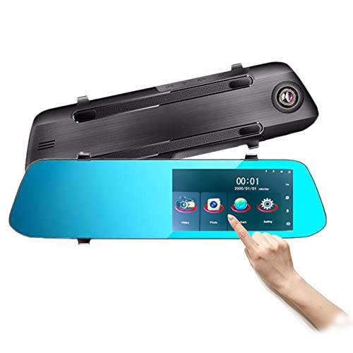 TONG Grabador De Conducción con Espejo Retrovisor De 4,5 Pulgadas, Cámaras Delanteras Y Traseras De 1080p, Grabación En Bucle, Sensor G, Monitor De Aparcamiento, Detección De Movimiento.