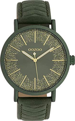 Oozoo Damenuhr mit Glitzer Zifferblatt und Struktur Lederband 42 MM Dunkelgrün/Dunkelgrün/Dunkelgrün C10148