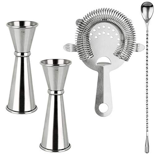 Cocktail Shaker Tools Bartender Kit 2PCS Double Jigger amp Cocktail Jiggers Stainless Steel 1 Ounce X 2 Ounce Alcohol Measuring Tools and 1PCS Mixing Spoon 1 Cocktail Strainer Total 4PCS