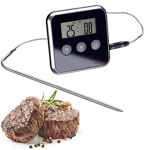 Westmark Digitales Bratenthermometer, Mit Alarmfunktion, Zum Aufstellen oder Hängen, Rostfreier Edelstahl/Kunststoff, Silber/Schwarz, 12912280