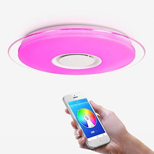 OFFDARKS – Plafoniera LED, lampada da soffitto con altoparlante Bluetooth, app telecomando a distanza + luminosità regolabile + cambio di colore B - 52W ⌀550MM Redondo