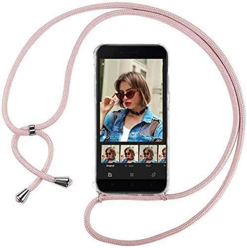 Mi-Case MiCase Funda con Cuerda para Xiaomi Mi 5X / Mi A1, Carcasa Transparente TPU Suave Silicona Correa Colgante Ajustable Collar Correa de Cuello Cadena Cordón - Rosado
