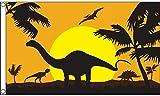 AZ FLAG Flagge Dinosaurier-Silhouette 150x90cm - Dinosaur Fahne 90 x 150 cm - flaggen Top Qualität