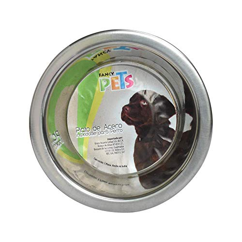 Fancy Pets Plato de Acero Base Antiderrapante, 8 Oz