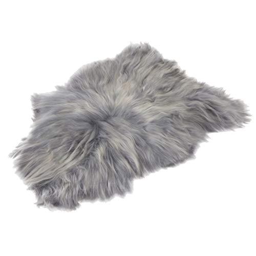 Amazinggirl Lammfell schaffell echt Fellteppich - Dekofell Teppich langhaar grau Schafsfell Fell für Baby 110-115 cm