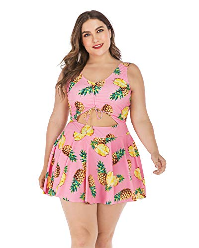 ESPRLIA Plus Size Floral Prinit Halter Swimwear One Piece Pin up Tankini Swimwear (Pink, 5XL)