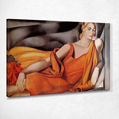 Donna in Abito Giallo Tamara De Lempicka Quadro Stampa su Tela Lmt57 Alta qualità Certificata Fine Art Giclée, Fatto in Italia, 100x70 cm
