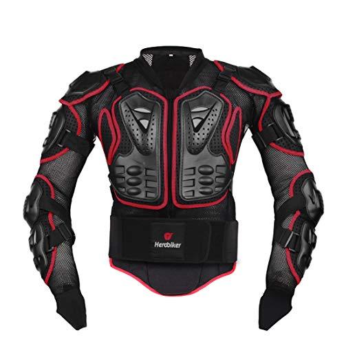 Motorcycle Jacket,Motorradjacke, Herren Motorradrüstung Motocross Racing Schutzausrüstung, Sport Offroad Rüstung-Anti-Fall (Red,5XL)