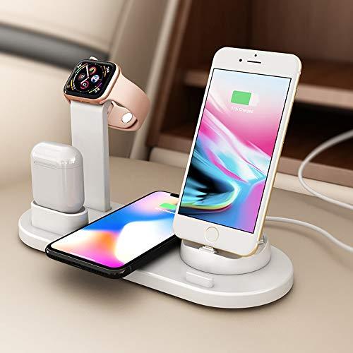 2 cargadores inalámbricos, cargador de inducción rápida con base de carga de 3 pulgadas 1, compatible con iPhone 11 Pro XS XR X 8 y Samsung S10 S9 y Apple Watch