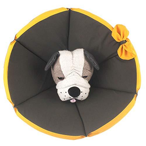 Komii エリザベスカラー 犬用 猫用 特大 軽量 布製 柔らかい 防水 耐久性 傷口保護 傷舐め防止 引っ掻き防止 調節可能 小型中型の大型犬猫に適しています (3XL, ブラック)